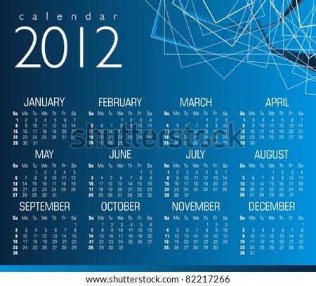 Vector calendar 2012 - stock vector