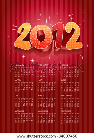 Vector 2012 calendar. All elements are layered separately in vector file. Easy editable. - stock vector