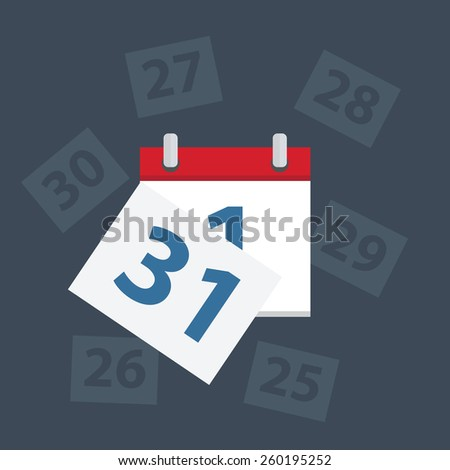 Vector calendar apps icon. Last day of the month, - stock vector