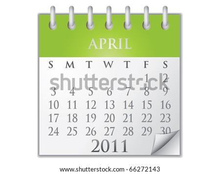 Vector Calendar April 2011 - stock vector
