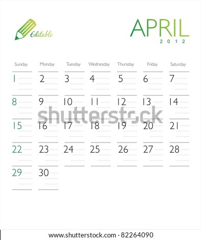 Vector calendar 2012 April - stock vector