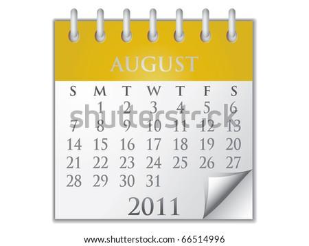 Vector Calendar August 2011 - stock vector