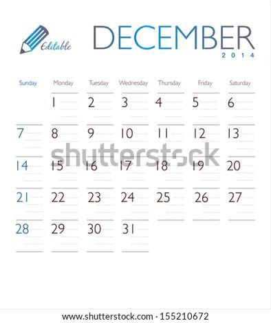 Vector calendar 2014 December - stock vector