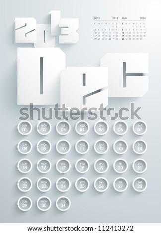 Vector 2013 Calendar Design - December - stock vector