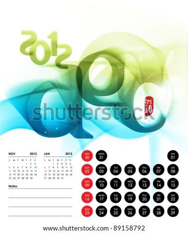 Vector 2012 Calendar Design - December - stock vector