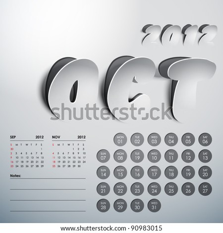 Vector 2012 Calendar Design - October - stock vector