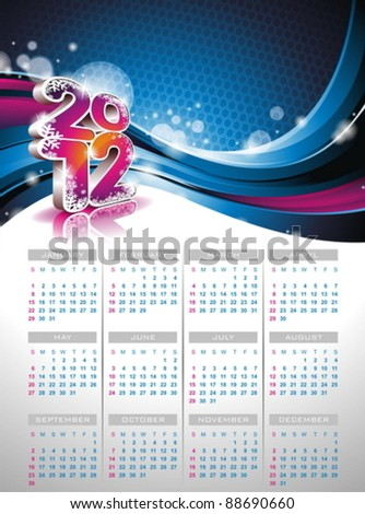 Vector calendar design 2012 on blue background.