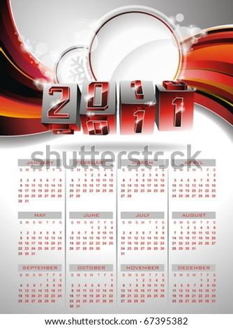 Vector calendar design 2011 on red background. - stock vector