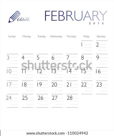 Vector calendar 2013 February - stock vector