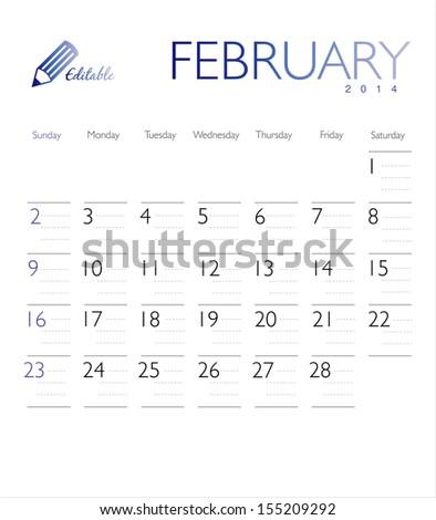 Vector calendar 2014 February - stock vector