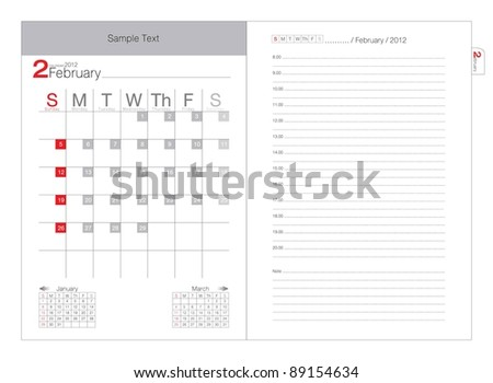Vector calendar 2012 February - stock vector
