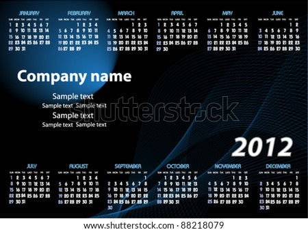 Vector calendar for 2012 - stock vector