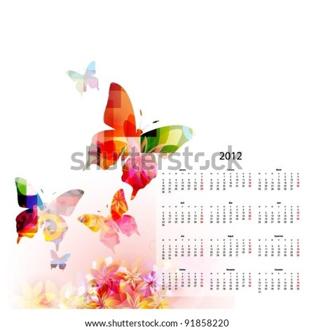 vector calendar for 2012 - stock vector