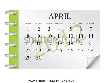 Vector calendar for April 2012 - stock vector