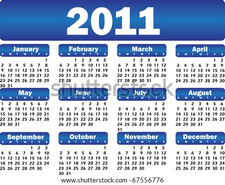 vector calendar for 2011 blue - stock vector