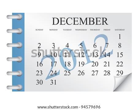 Vector calendar for December 2012 - stock vector