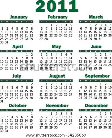 Vector calendar for 2011 green on white background - stock vector