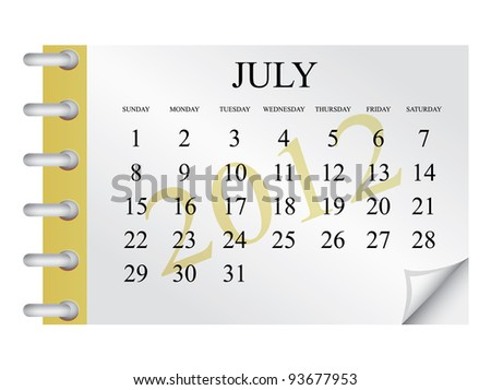 Vector Calendar for July 2012 - stock vector