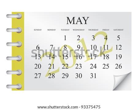 Vector calendar for May 2012 - stock vector