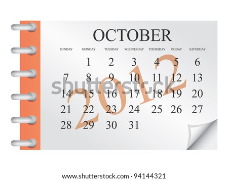 Vector calendar for October 2012 - stock vector