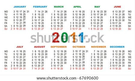 vector calendar for 2011 on a white background - stock vector