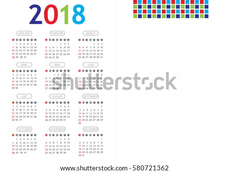 Vector calendar for 2018 on white background EPS 10. Colorful font with geometric elements. Simple design template. Minimalism Style