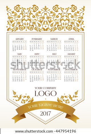Vector calendar for 2017. Ornate decorated calendar grid. Golden floral decor, place for company logo and tagline, slogan. Template with week starts Monday. - stock vector