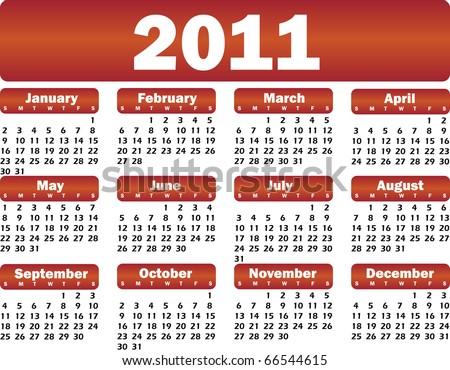 vector calendar for 2011 red - stock vector