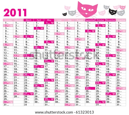 Vector Calendar for 2011 with graphic elements - stock vector