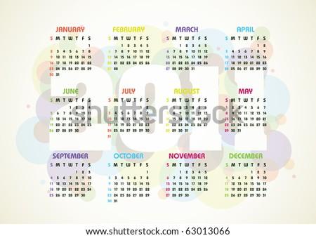 vector calendar for 2011 year - stock vector