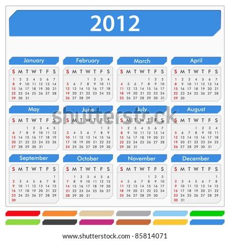 Vector calendar for 2012 year - stock vector