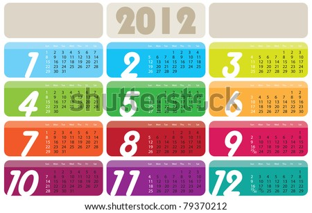 Vector Calendar for 2012 year with graphic elements - stock vector