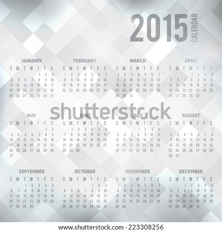 vector calendar grid 2015 year on geometric abstract background