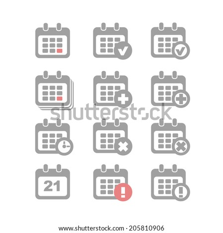 Vector Calendar Icons event add delete alert and clock - stock vector