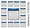 Vector calendar icons for 2012 in blue color - stock photo
