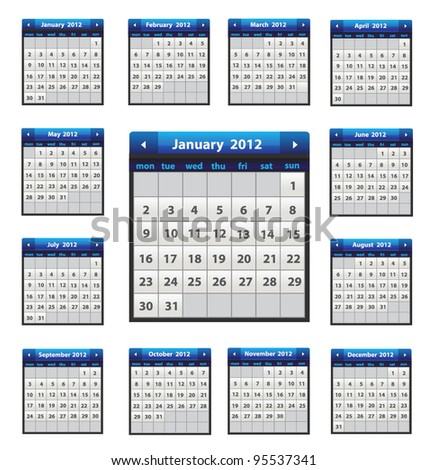 Vector calendar icons for 2012 in blue color