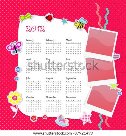 Vector calendar in girl scrapbook style - stock vector