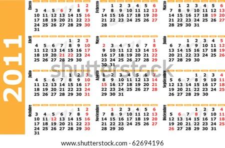 Vector 2010 calendar in spanish language. - stock vector
