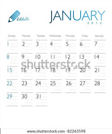 Vector calendar 2012 January - stock vector