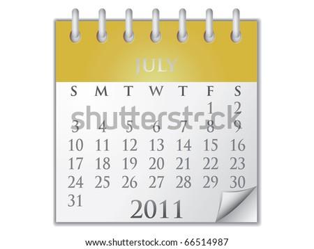 Vector Calendar July 2011 - stock vector