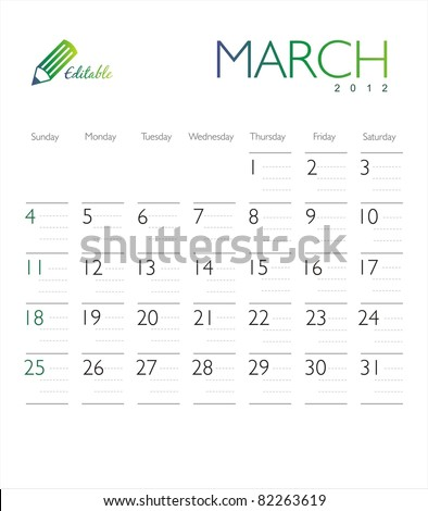 Vector calendar 2012 March - stock vector