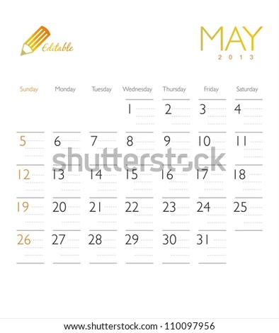 Vector calendar 2013 May - stock vector