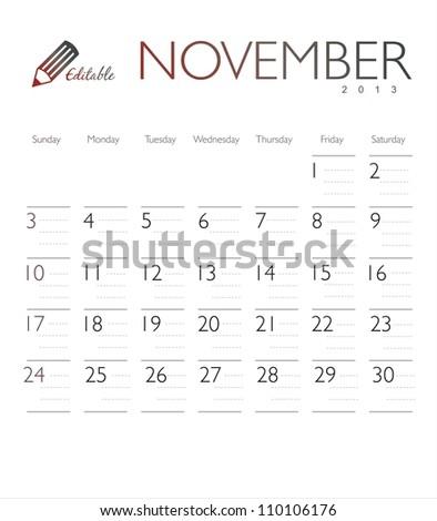 Vector calendar 2013 November - stock vector