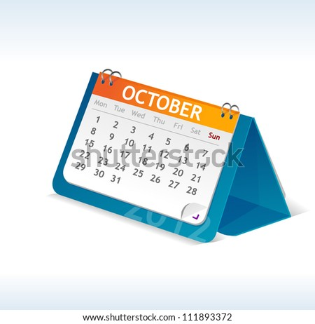 Vector calendar october - stock vector
