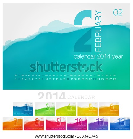Vector calendar of 2014. Unique design for each month - stock vector