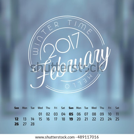 Vector calendar on abstract nature background. February 2017