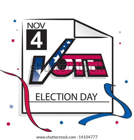 """Vector calendar page with """"vote"""" text for US election day, November 4 2008 - stock vector"""