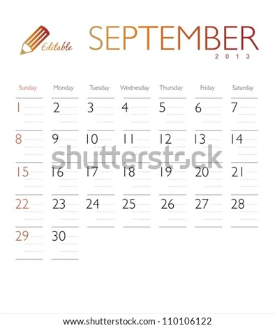 Vector calendar 2013 September - stock vector