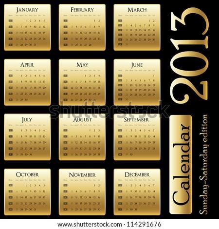 Vector calendar 2013 - Sunday-Saturday edition - stock vector