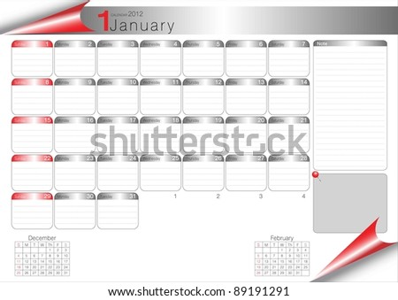 Vector Calendar Table 2012 January - stock vector